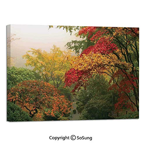 Canvas Prints Modern Art Framed Mural Maple Trees in The Fall at Portland Japanese Garden One Foggy Morning Scenery Wall Decorations for Living Room Bedroom Dining Room Bathroom 30x48inch Red Yellow