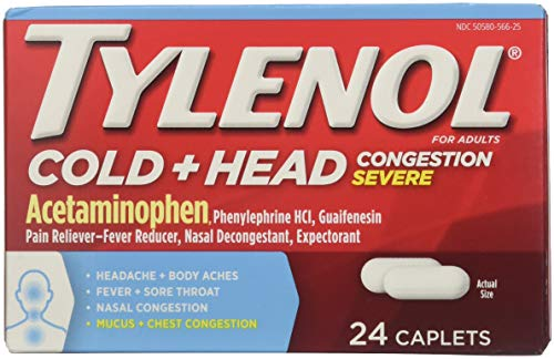 - Tylenol Cold + Head Congestion Severe, 24 Caplets (Pack of 2)