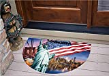 3D Semicircle Floor Stickers Personalized Floor Wall Sticker Decals - Concept Collection Statue of Liberty NYC Cityscape - Kitchen Bathroom Tile Sticker Living Room Bedroom Kids Room Decor Art Mural D31.