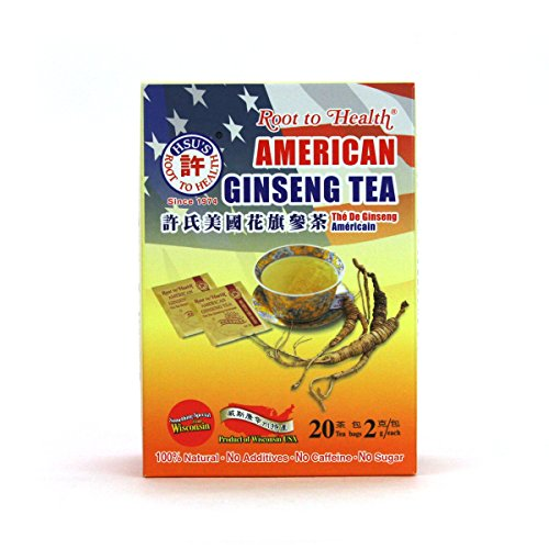 Hsu's Ginseng SKU 1036 | American Ginseng Tea, Economy 20ct | Cultivated American Ginseng from Marathon County, Wisconsin USA | 许氏花旗参 | 20ct Economy Box, 西洋参, B000638OVI For Sale