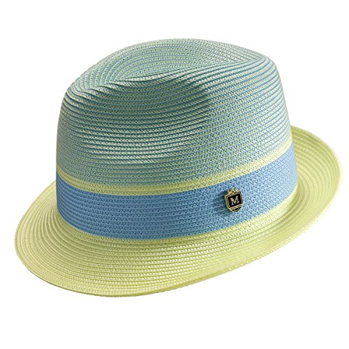 Montique Men's Braided Two Tone Pinch Fedora Hat H22 (Maize Fedora Hat)