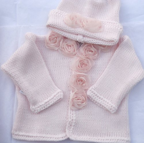 Knitted Pink Cotton Girls Cardigan Hat with Chiffon Roses for Ages 6-12 Months by Gita