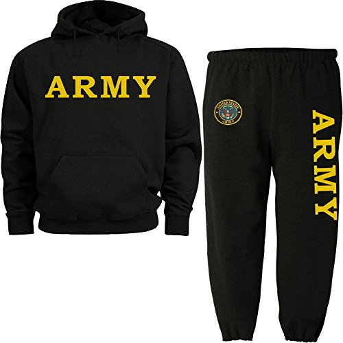 (yellow Army black hoodie SWEATSUIT large )