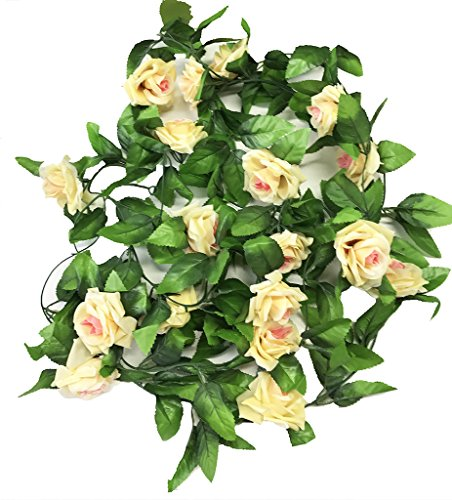 Miracliy 2 Pack 15 FT Fake Rose Vine Flowers Plants Artificial Flower Home Hotel Office Wedding Party Garden Craft Art Décor, Champagne