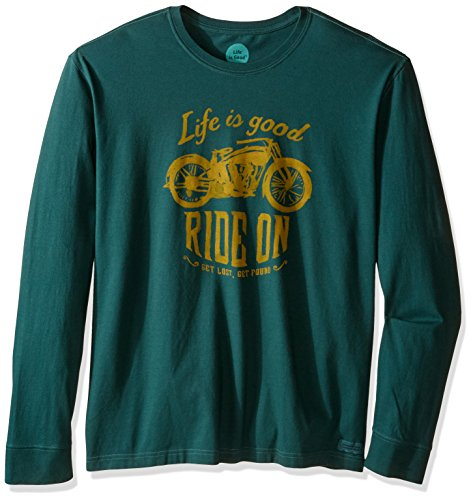 Life is good Men's Ride on Motorcycle Crusher Long Sleeve Tee, Balsam Green, Large