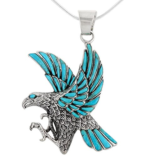 Eagle Necklace 925 Sterling Silver Genuine Turquoise Pendant with 20