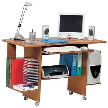 scrivania porta computer con ruote legno ciliegio pc5553 ... - Scrivania Con Computer