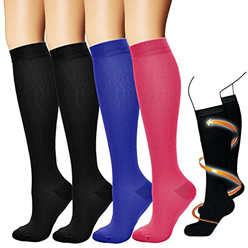 BLUEMAPLE Compression Socks,(4 pairs) Compression Sock for Women & Men - Best For Running, Athletic Sports, Crossfit, Flight Travel - Suits Nurses, Maternity Pregnancy Assorted 1-S