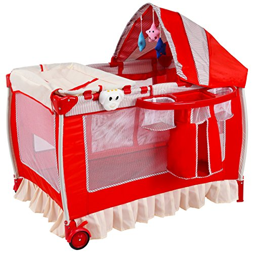 Costzon Baby Playard, Convertible Playpen with Bassinet, Changing Table, Foldable Infant Crib Travel Bassinet Bed with Music Box, Cute Toys, Wheels & Brake, Travel Ready with Oxford Carry Bag (Red)