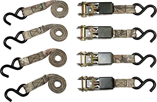 RPS Outdoors SI-2067 Ratchet Tie Down Straps with 900 lb Tension Strength, Mossy Oak Camo (4 Pack)