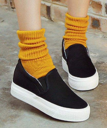 Sfnld Mujeres Fashion Plataforma De Corte Bajo Hidden Heel Slip On Sneakers Canvas Zapatos Black