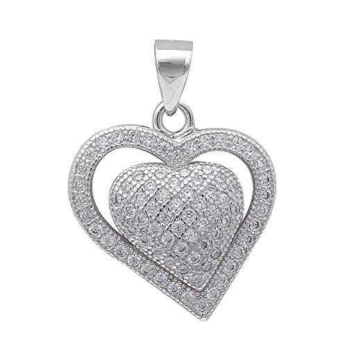 Micro Pave Cubic Zirconia Heart .925 Sterling Silver Pendant (Micro Pave Heart)