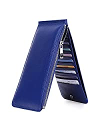 S-ZONE Women's Genuine Leather Multi Card Organizer Wallet with Zipper Pocket