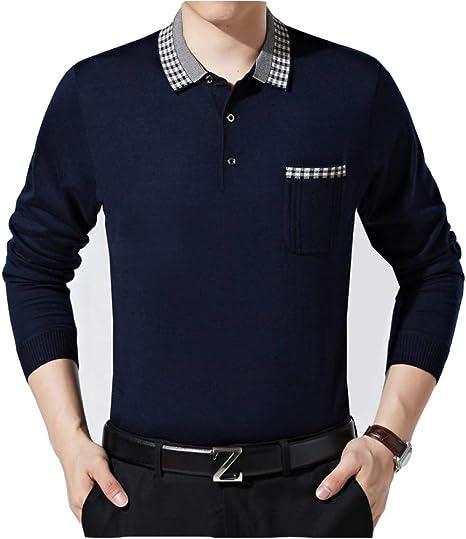SBL Camiseta de Manga Larga para Hombre - Solapa Suéter Holgado de Color sólido - Camiseta de Mediana Edad para Hombre - Camisa de Abajo Daddy: Amazon.es: Deportes y aire libre