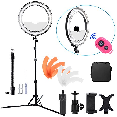 Hakutatz Dimmable 18 inches Diameter 75W Fluorescent 5500K Ring Light Kit with Bag,Filter,Extended Ball Head,Cellphone & iPAD Clip Holder,Mirror,Bluetooth Receiver,Soft Tube,Screwdrive,Light Stand by Hakutatz