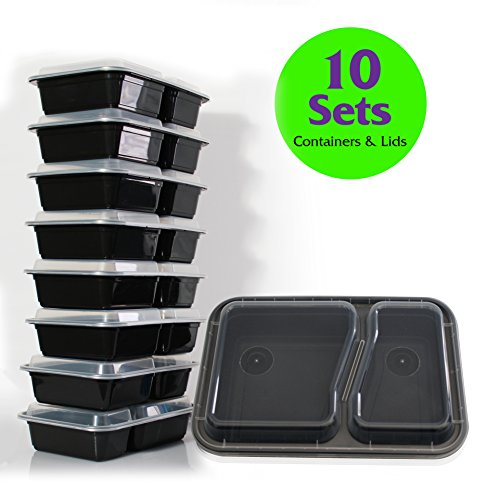2 Compartment Reusable FOOD STORAGE CONTAINERS with Clear LIDS - FDA compliant for food - Microwave & Dishwasher