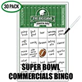 Katie Doodle Super-Bowl Party Supplies Commercials Bingo Game Set with 30 Cards (SB002), 5.5 x 8.5 inches, White