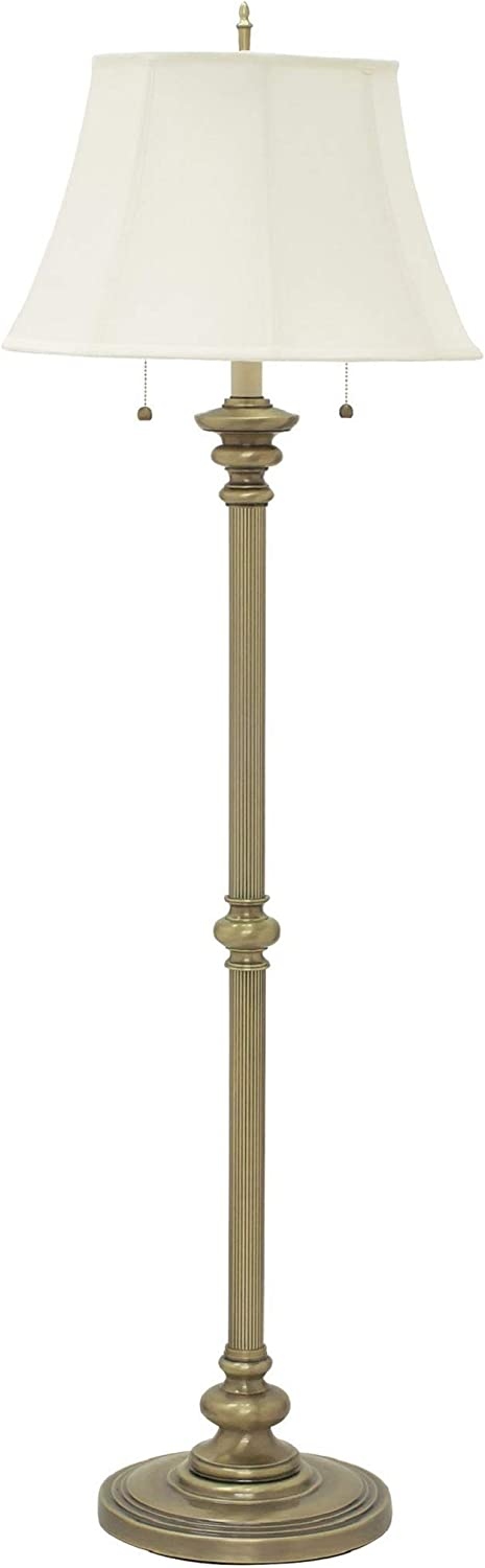 House Of Troy N601-AB Newport Collection Portable Floor Lamp with Off-White Softback Shade, 57-1 2 , Antique Brass