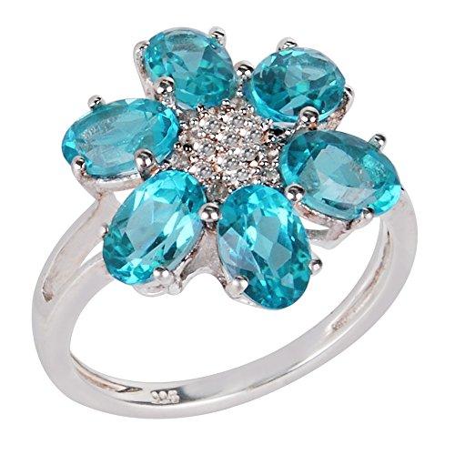 SHREEYANSH 925 Sterling Silver Designer Ring Studded with Apatite White Topaz for Women ()