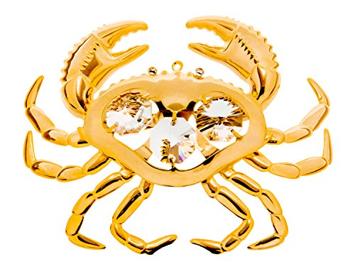 KGNC Crab Figurine 24k Gold Plated Spectra Crystals by Swarovski Tabletop Ornament