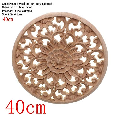 Nisson Wood Flower - Carved Flower Carving Round S for Furniture Cabinet Unpainted Mouldings Decal Decorative Figurine