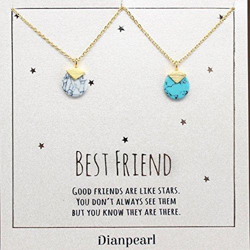 white and blue howlite gemstone necklace, Best friend necklace, BFF Necklace, friendship necklace for 2, Gold dainty necklace, gemstone necklace, Turquoise Howlite Blue Turquoise Howlite Gem