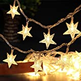 Star Fairy Lights Galaxer 40 Pcs LED Star Night Christmas String Light 20ft/6M Two Mode Monochrom and Shining Warm White Decoration Light for Indoor O
