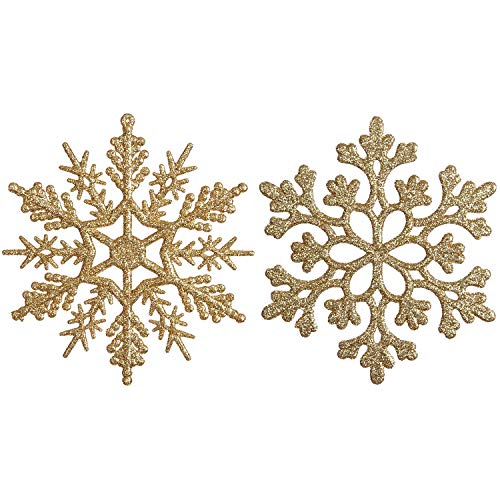 Sea Team Plastic Christmas Glitter Snowflake Ornaments Christmas Tree Decorations, 4-inch, Set of 36, Gold -