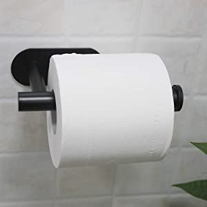 WILIFDOM Black Toilet Paper Holder 3M Self Adhesive Bathroom Paper Towel Roll Holder, Toilet Roll Holder SUS 304 Stainless Steel Wall Mount Can Remove
