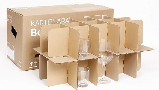 Cajas de cartón para vasos, caja para mudanzas, caja para botellas, cajas para vajilla con 15 – 30 compartimentos 15: Amazon.es: Oficina y papelería