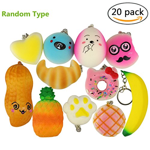 Mini Squishy Toys Pack of 20 Pcs Soft Squeeze Stretchy Toys with a box for Kids Adults Stress Relief Slow Rising Squishies (Fruit)