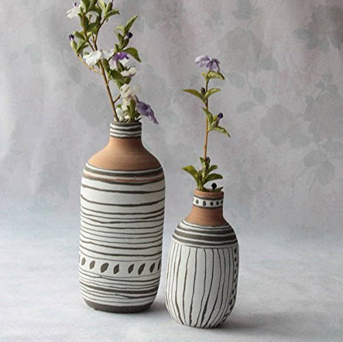 Amazon Handmade Ceramic Pottery Vase Set In Terracotta Black