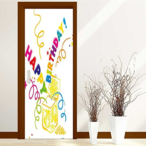 AmaPark Creative Door Stickers Bedroom Doors Surprise in a Box Doodle Style Cheerful Spirals Confetti and Stars Indoor and Outdoor use W35.4 x H78.7 INCH