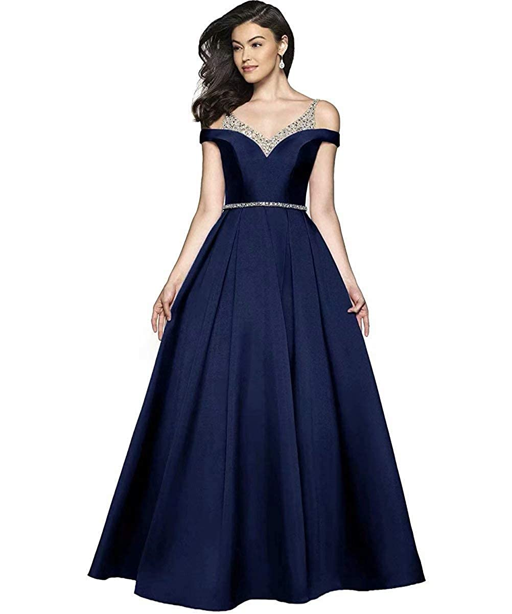 Navy bluee JYDX Women's Cold Shoulder V Neck Pleated Satin ALine Evening Prom Dress Long Formal Party Gown with Beaded Bodice