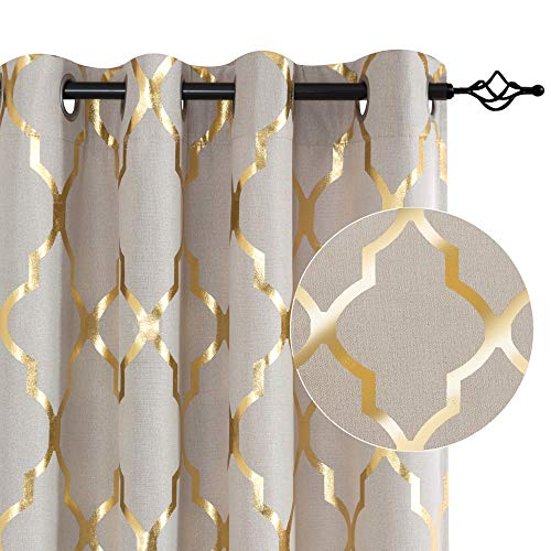 Moroccan Tile Print Textured Linen Panels for Bedroom Room Grommet Flax Linen Blend Curtain Textured Window Treatment Set for Living Room 95 inch Gold on Flax (Curtains And Gold Window White)