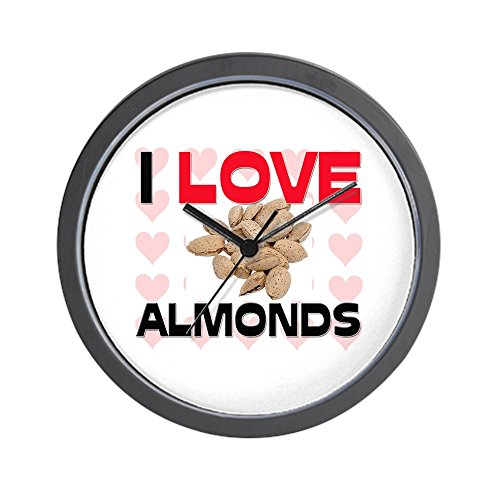 CafePress - I Love Almonds Wall Clock - Unique Decorative 10