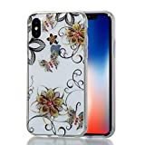iPhone X Case (5.8-inch) [Glitter Bling], iPhoneX Cover, MerKuyom Slim-fit [Flexible Gel] Transparent Clear Crystal Soft TPU Case Skin Cover W/ Stylus For Apple iPhone X (Elegant Flower Butterfly)