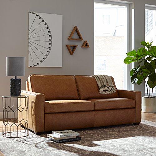 "Rivet Andrews Contemporary Top-Grain Leather Sofa, 82""W, Cognac"
