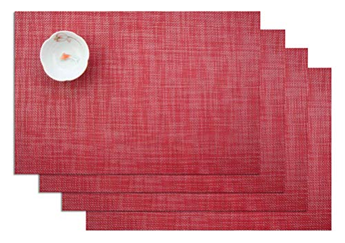 ZebraSmile Solid Color Set of 4 Washable Heat-resistant Placemats Stain Resistant Non-Slip Table Mats Woven Textilene PVC Anti-skid for Home Kitchen Dining Table Heat Insulation Dinner Place Mats, Red