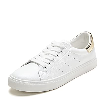 54188d5b818e5 Amazon.com: Tsing Yi Fashion White Breathable Flat Shoes Lace-up ...