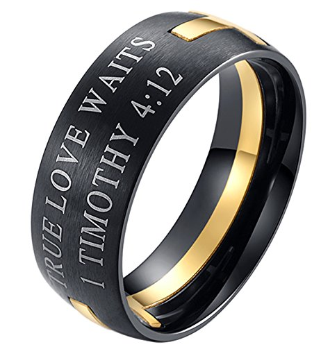 EZSONA Men's 8mm Stainless Steel Bible Verse Christian Purity Puzzle Ring 1 Timothy 4:12 Gold Size (Stainless Steel Puzzle Ring)