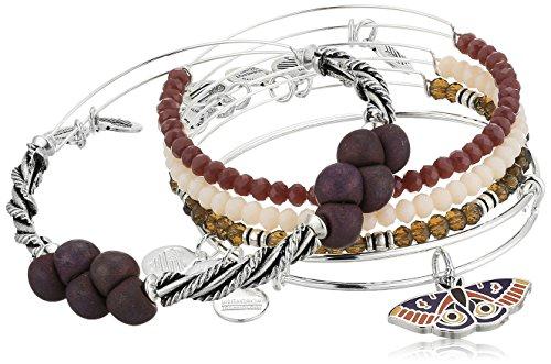 Alex and Ani Moth Set of 5 Shiny Silver Bangle Bracelet