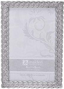 Malden International Designs Belmore Silver Braided Picture Frame, 4x6, Silver