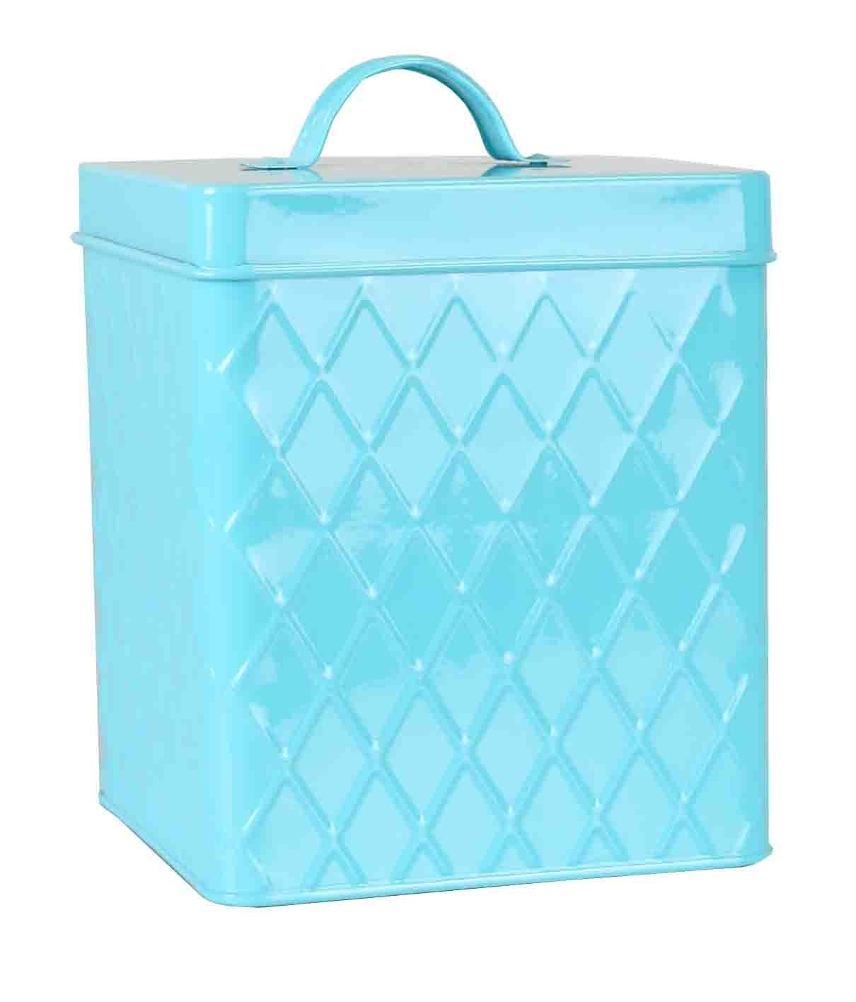 Home Basics Tin Canister/Container for Kitchen Tea, Coffee, Sugar, Cookies, Food, Flour, Baked Goods & Laundry Storage, Small Cover, Turquoise