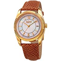 Burgi Skinny Leather Women's Watch with Swarovski Crystal Markers on Mother of Pearl Dial –Embossed Tan Designer Bracelet Band – Japanese Quartz – BUR167TN