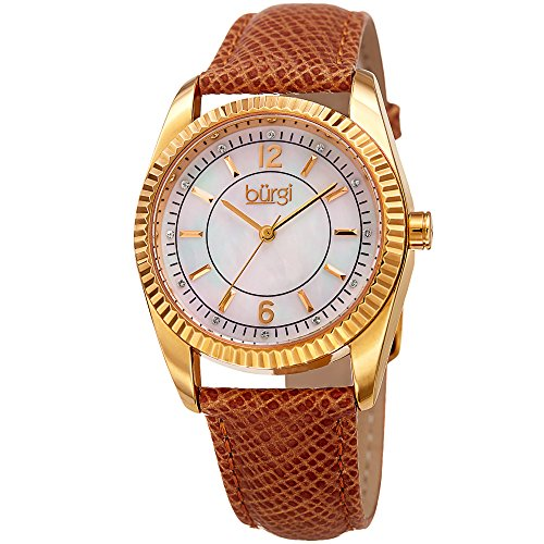 (Burgi Skinny Leather Women's Watch with Swarovski Crystal Markers on Mother of Pearl Dial -Embossed Tan Designer Bracelet Band - Japanese Quartz - BUR167TN)
