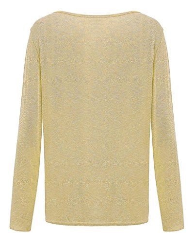 Suelto Cuello Con Sudadera Larga Cardigan Casual Redondo Mujeres T Cárdigan Jerséis Pullover Amarillo Manga Ziooer Camiseta Suéter Jersey shirt Tee Rz50Axqf