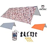 LONE WOLF 10.5' x 10' Lightweight Hammock Rain Fly Tent Tarp Survival Tarp Water Proof Camping Shelter RIPSTOP Material UV Protection Sand Resistant Beach Blanket Essential Survival Gear