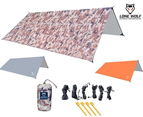 Lone Wolf 10.5' x 10.5' Lightweight Hammock Rain Fly Tent Tarp Water Proof Camping Shelter Ripstop Material UV Protection Sand Resistant Beach Blanket Essential Survival Gear (Desert Storm -