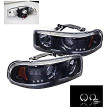 1999-2006 GMC Sierra / Yukon Halo LED Projector Headlights with 6000K HID Conversion Kit - Black